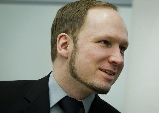 "Norway killer Anders Behring Breivik, pictured during his trial in Oslo. A brother of one of Breivik's 77 victims threw a shoe at him Friday, screaming ""you killer, go to hell!"", in the first serious incident since the Norwegian's trial began on April 16"