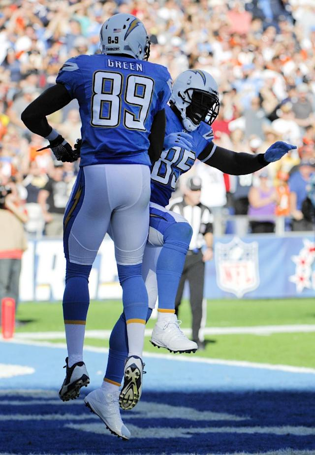 San Diego Chargers tight end Ladarius Green, left, celebrates his touchdown with teammate tight end Antonio Gates, right, while playing against the Cincinnati Bengals during the first half of an NFL football game Sunday, Dec. 1, 2013, in San Diego. (AP Photo/Denis Poroy)