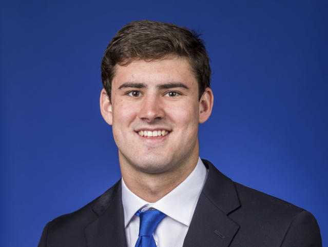 This photo provided by Duke University shows Daniel Jones. Jones is a possible pick in the 2019 NFL Draft. (Duke University via AP)