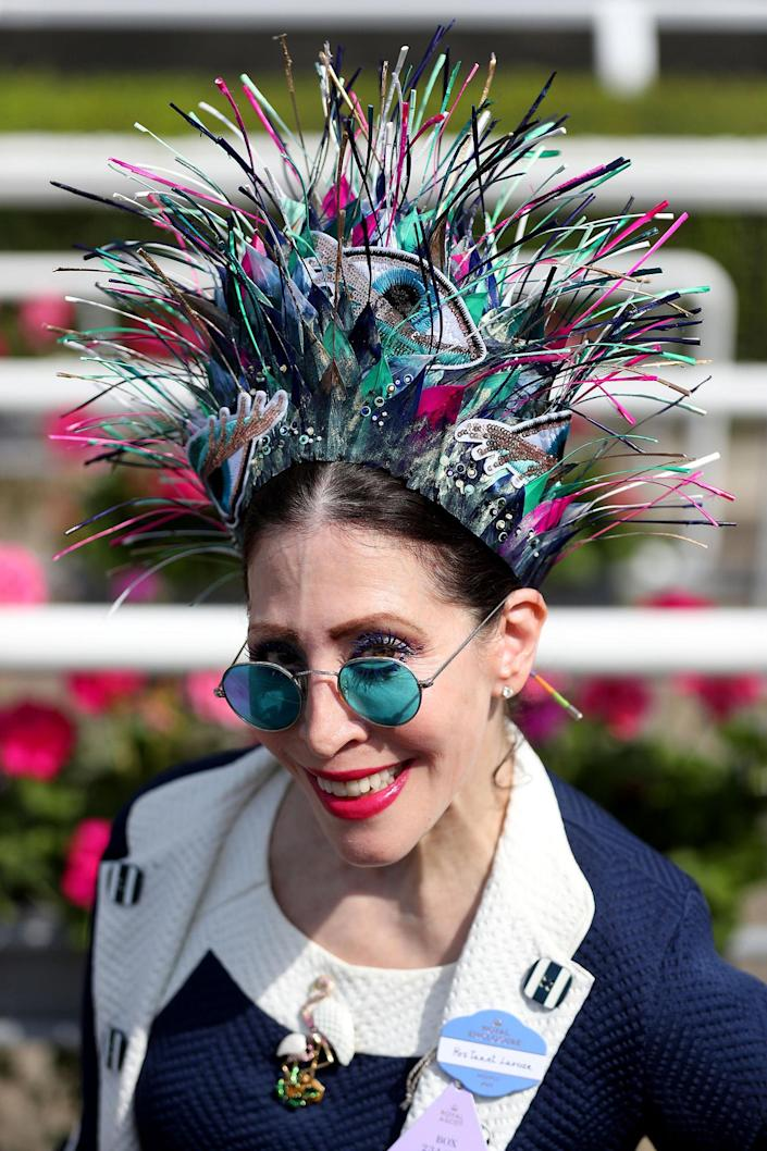 <p>Racegoer Janet Larose, from New York, during day two of Royal Ascot at Ascot Racecourse on june 21, 2017. (Jonathan Brady/PA Images via Getty Images) </p>