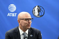 New Dallas Mavericks NBA basketball team head coach Jason Kidd speaks at a press conference to formally introduce him and new general manager Nico Harrison Thursday, July 15, 2021, in Dallas. (AP Photo/Matt Strasen)