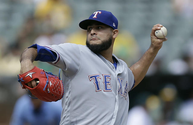 Martin Perez got revenge on a bull. (AP Photo)