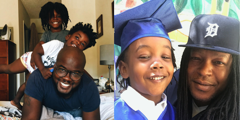 Glen Henry (L)with his two sons Theo and Uriah, and Shaka Senghor (R) with his son Sekou. (Courtesy of Shaka Senghor/Instagram)