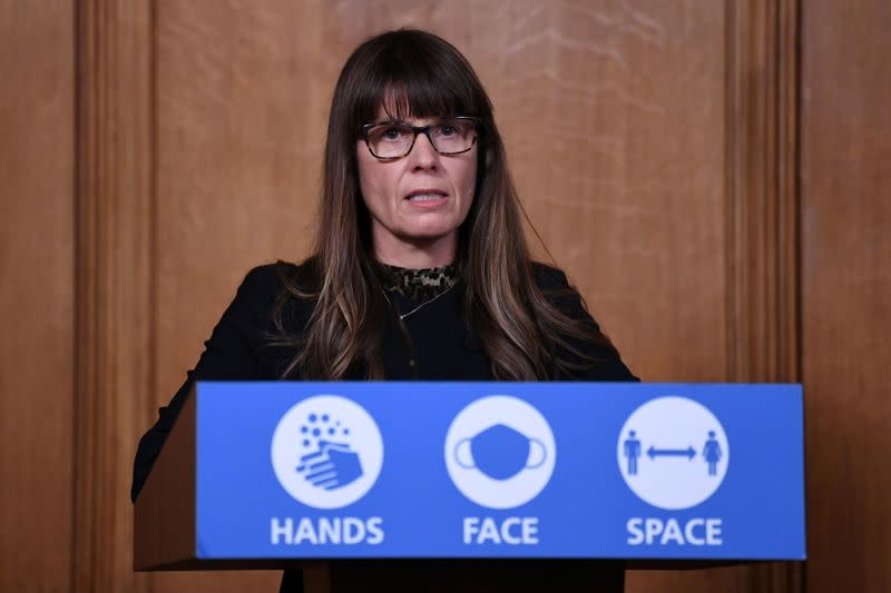 FILE PHOTO: Dr Susan Hopkins attends a media briefing on COVID-19 at 10 Downing Street in London