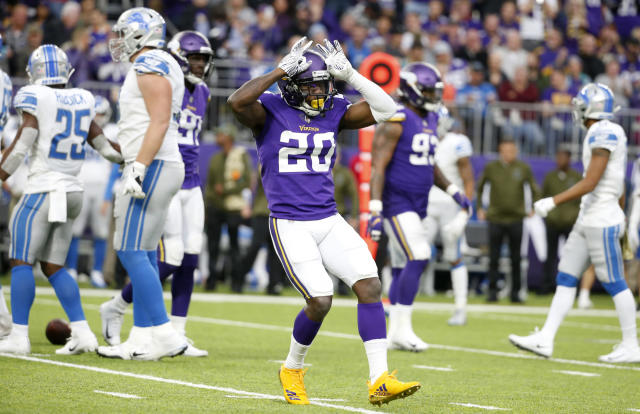 FILE - In this Nov. 4, 2018, file photo, Minnesota Vikings cornerback Mackensie Alexander celebrates after sacking Detroit Lions quarterback Matthew Stafford during the second half of an NFL football game, in Minneapolis. (AP Photo/Bruce Kluckhohn, File)
