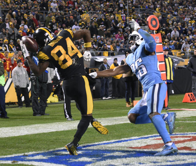Pittsburgh Steelers wide receiver Antonio Brown had a monster game in a win against the Titans. (AP)