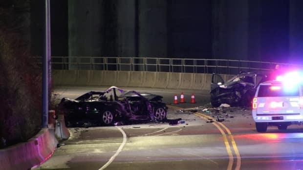 A head-on crash on Low Level Road in North Vancouver, B.C., left one woman dead and two other people injured on Tuesday, according to RCMP. (Ryan Stelting - image credit)