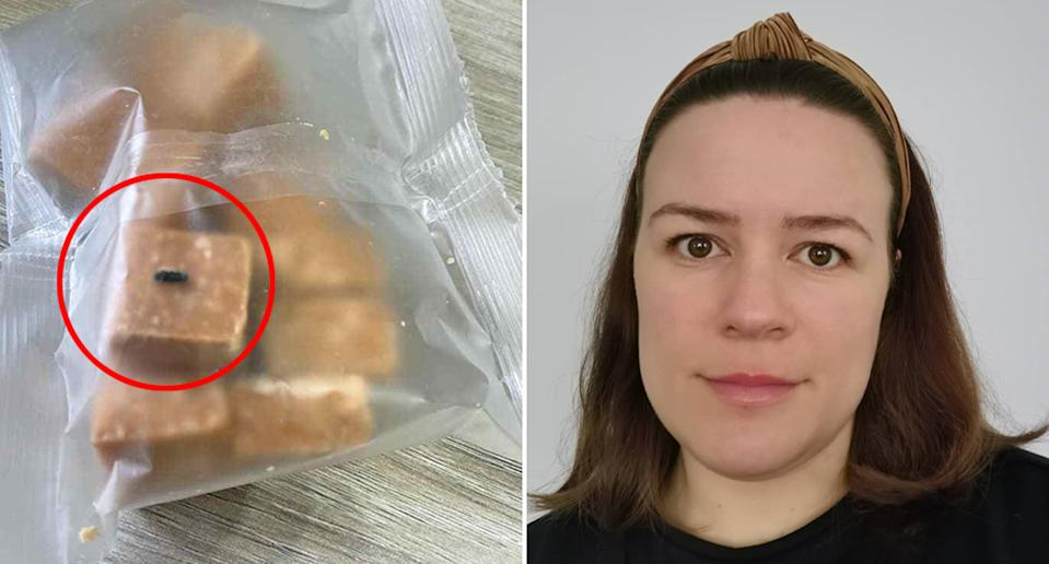 Pictured left is the fudge with the mysterious 'nugget' embedded in the fudge bought from UK retailer Poundland and on the right is Kayley Tee.