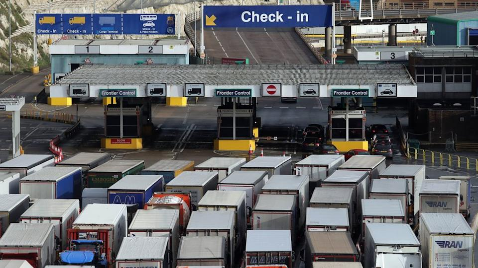 Trucks queuing at Dover
