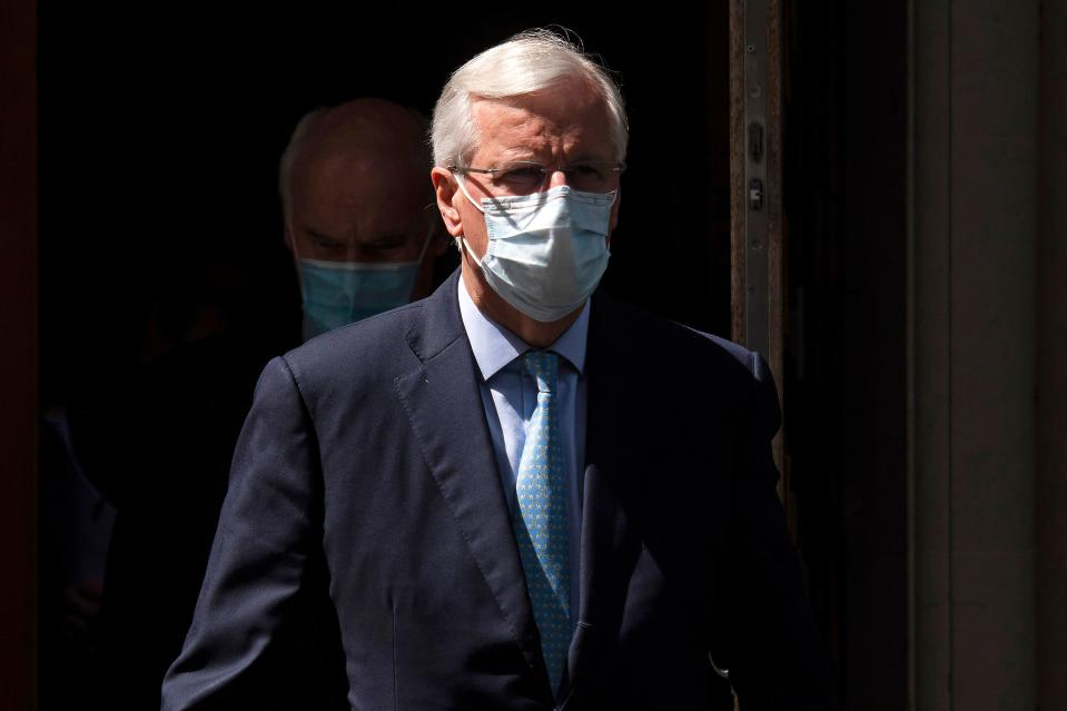 EU chief Brexit negotiator Michel Barnier wears a face mask as a precaution against the spread of the novel coronavirus, as he leaves from Europe House, headquarters of the EU Delegation to the UK, in London on July 23, 2020. - Barnier held a press conference at the EU delegation headquarters on the Brexit negotiations. (Photo by JUSTIN TALLIS / AFP) (Photo by JUSTIN TALLIS/AFP via Getty Images)