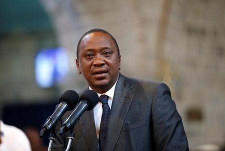 Kenya's President Uhuru Kenyatta delivers a speech during a ceremony at the All Saints Anglican Church in Nairobi