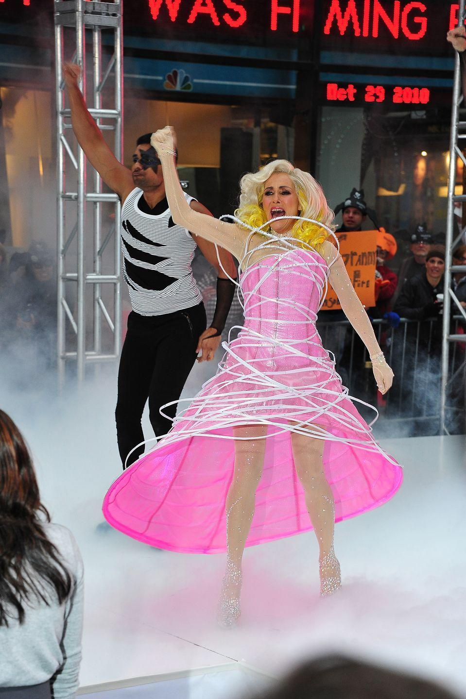 """<p>Meredith """"Mother Monster"""" Vieira performed as Lady Gaga on NBC's <em>Today</em> Halloween episode at Rockefeller Plaza in 2010.</p>"""