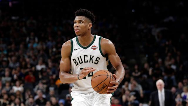 """The Bucks will have to rely on their MVP candidate even more in the wake of <a class=""""link rapid-noclick-resp"""" href=""""/nba/players/5667/"""" data-ylk=""""slk:Malcolm Brogdon"""">Malcolm Brogdon</a>'s injury. (AP Photo/Eric Gay)"""