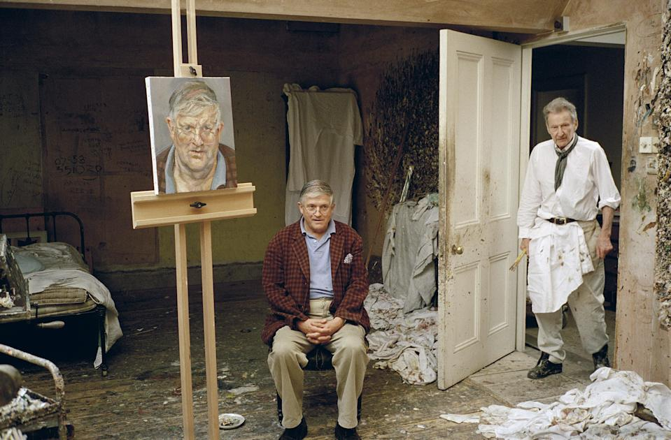 David Hockney with Lucian Freud and Freud's portrait of his fellow painter (Bridgeman Images)