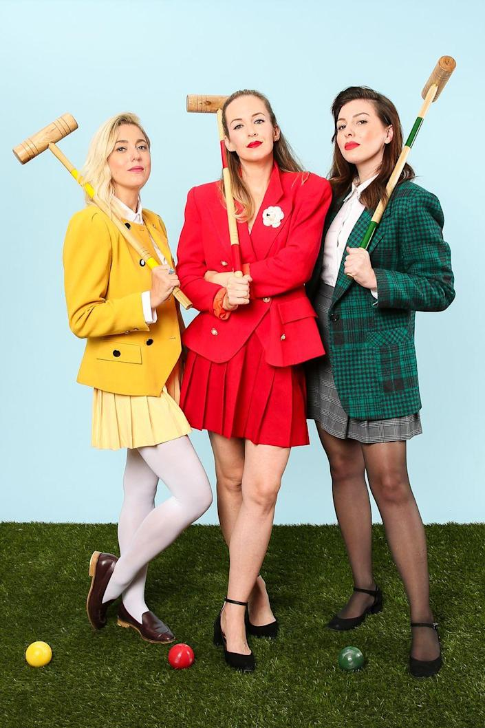 """<p>Sure, <em>Heathers </em>came out more than 30 years ago, but plenty of people (like us) are still obsessing about it, making this DIY costume as timely as ever. How very.</p><p><strong>Get the tutorial at <a href=""""http://keikolynn.com/2016/10/heathers-group-costume-for-halloween/"""" rel=""""nofollow noopener"""" target=""""_blank"""" data-ylk=""""slk:Keiko Lynn"""" class=""""link rapid-noclick-resp"""">Keiko Lynn</a>.</strong></p><p><a class=""""link rapid-noclick-resp"""" href=""""https://www.amazon.com/croquet-set/b?ie=UTF8&node=676773011&tag=syn-yahoo-20&ascsubtag=%5Bartid%7C10050.g.32906192%5Bsrc%7Cyahoo-us"""" rel=""""nofollow noopener"""" target=""""_blank"""" data-ylk=""""slk:SHOP CROQUET SETS"""">SHOP CROQUET SETS</a><br></p>"""
