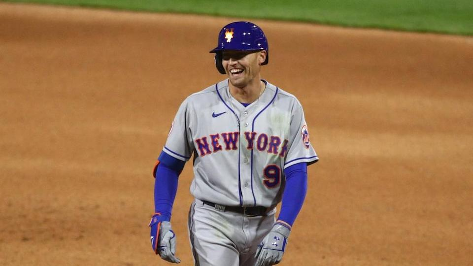 Apr 5, 2021; Philadelphia, Pennsylvania, USA; New York Mets outfielder Brandon Nimmo (9) reacts after hitting a single in the fourth inning against the Philadelphia Phillies at Citizens Bank Park.