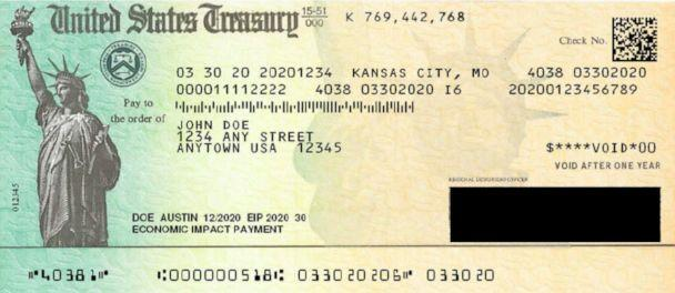 PHOTO: An April 2020 draft of an economic stimulus payment check, obtained by ABC News, does not include any reference to then-President Donald Trump. His name appeared on the final version sent to Americans. (U.S. Department of the Treasury)