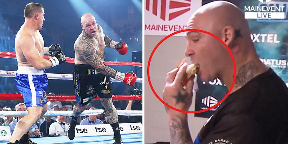 Lucas Browne (pictured right) eating before his boxing fight and (pictured left) Paul Gallen dodging a punch.