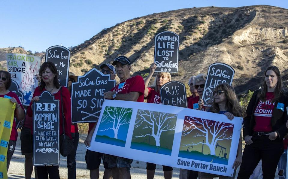 North San Fernando Valley residents hold a rally near the entrance of the SoCalGas Aliso Canyon storage facility in 2019.