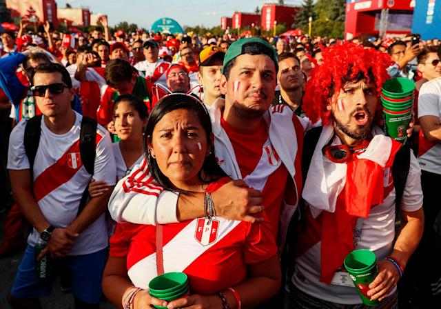 Soccer Football - World Cup - Group C - France vs Peru - Moscow, Russia - June 21, 2018 Peru fans react as they watch the match at Moscow Fan Fest. REUTERS/Gleb Garanich