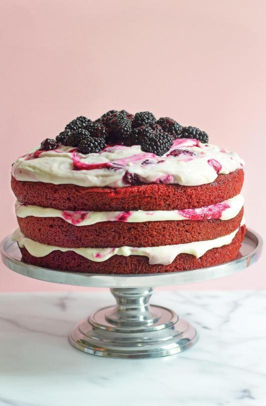 Red Velvet Cake with BlackberryCream Cheese Whipped Frosting