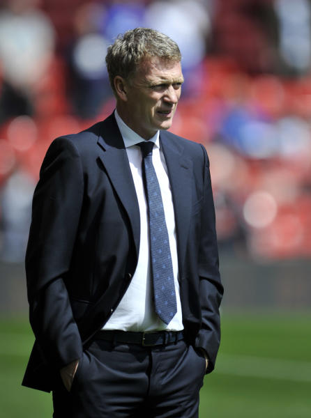Everton's manager David Moyes watches the action during their English Premier League soccer match against Liverpool at Anfield in Liverpool, England, Sunday May 5, 2013. (AP Photo/Clint Hughes)