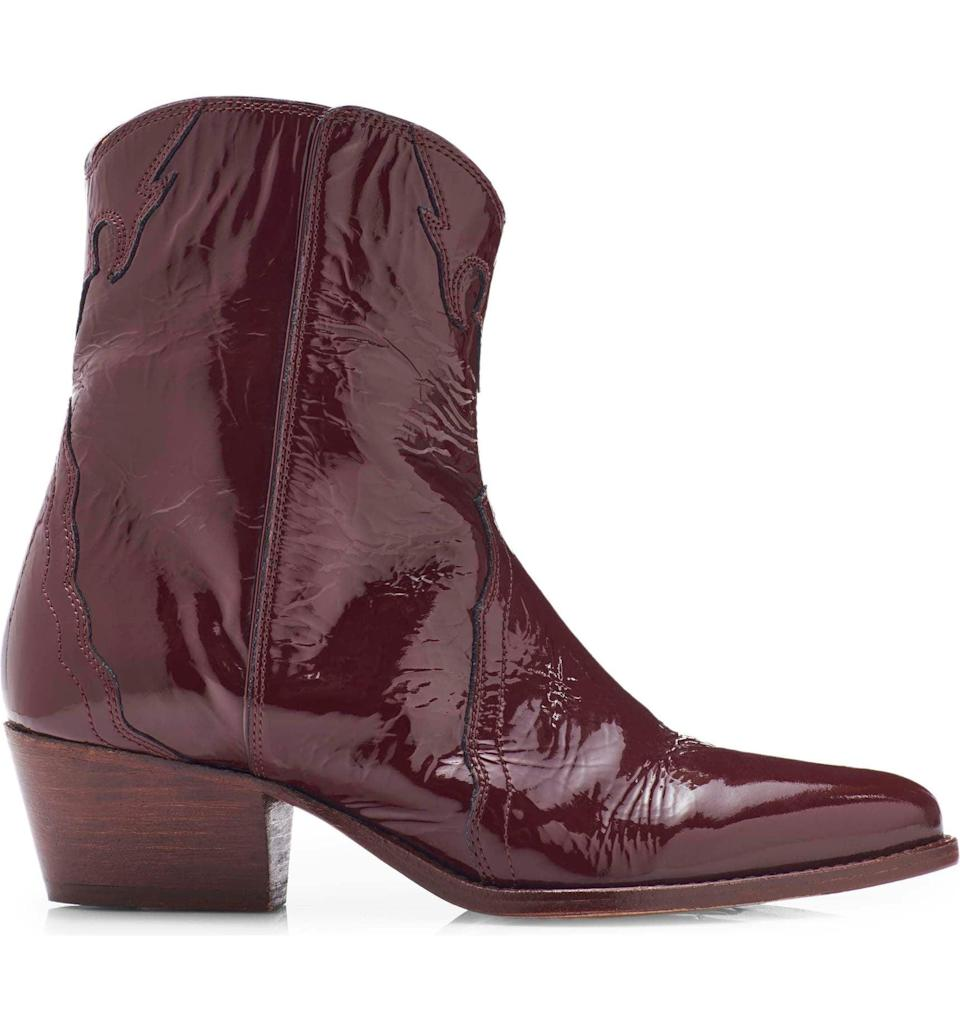 <p>Fall calls for these deep burgundy <span>Free People New Frontier Western Booties</span> ($148). The patent style is unique and fun for nights out.</p>