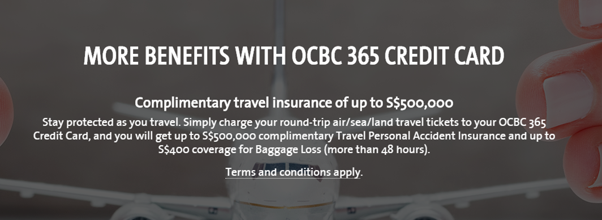 Complimentary Travel Insurance Benefits by OCBC