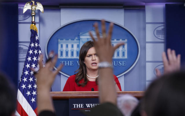 White House press secretary Sarah Sanders speaks during the daily news briefing at the White House on May 3. (Photo: Carolyn Kaster/AP)