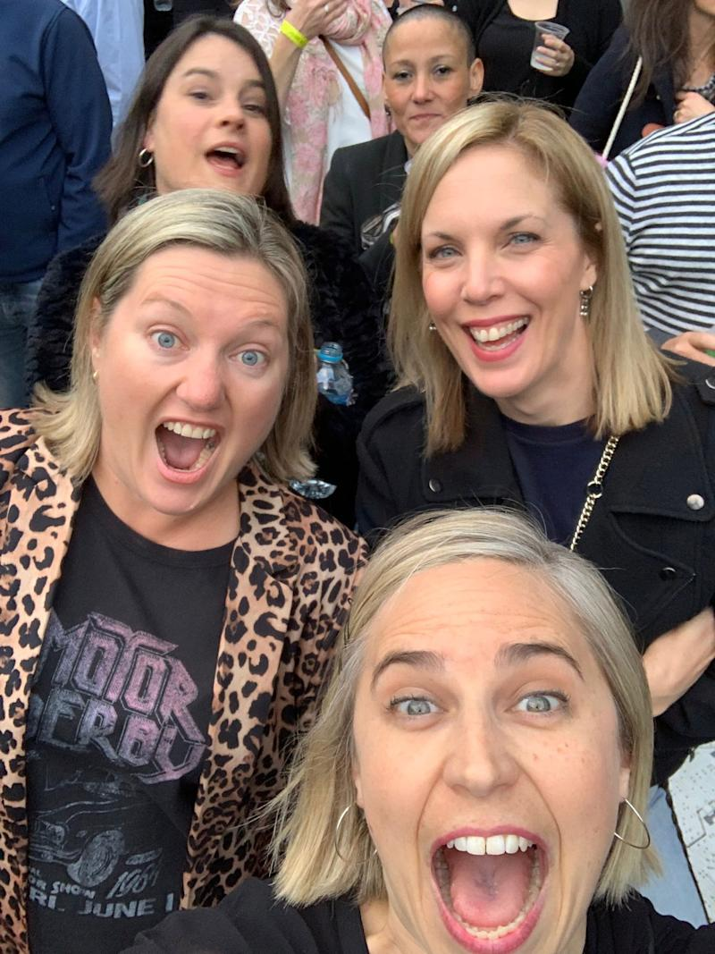 Clare Rigden and her friends at U2 in Melbourne