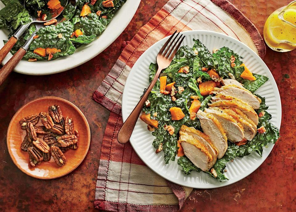 """<p><strong>Recipe: <a href=""""https://www.southernliving.com/recipes/kale-and-sweet-potato-salad-with-chicken-recipe"""" rel=""""nofollow noopener"""" target=""""_blank"""" data-ylk=""""slk:Kale and Sweet Potato Salad with Chicken"""" class=""""link rapid-noclick-resp"""">Kale and Sweet Potato Salad with Chicken</a></strong></p> <p>Lunch or dinner in 30 minutes? Yes, please. Chicken breasts and sweet potato cubes roast in the oven while you prepare everything else. Don't be nervous about candying your own pecans—they come together quickly and easily.</p>"""
