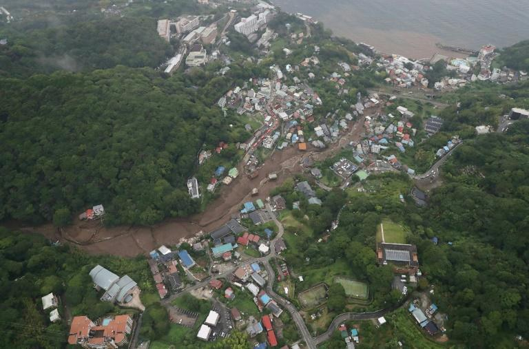 An aerial view from a Jiji Press helicopter shows the landslide site in Atami City, Shizuoka