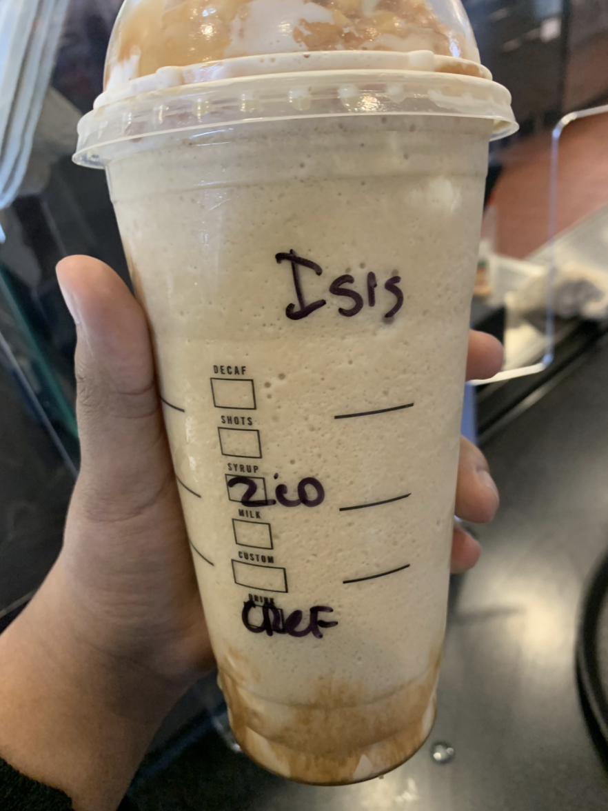 Photo shows a Starbucks cup with ISIS written on it.