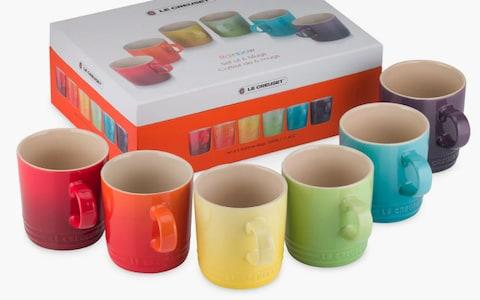 Le Creuset Stoneware Rainbow Mugs, Set of 6
