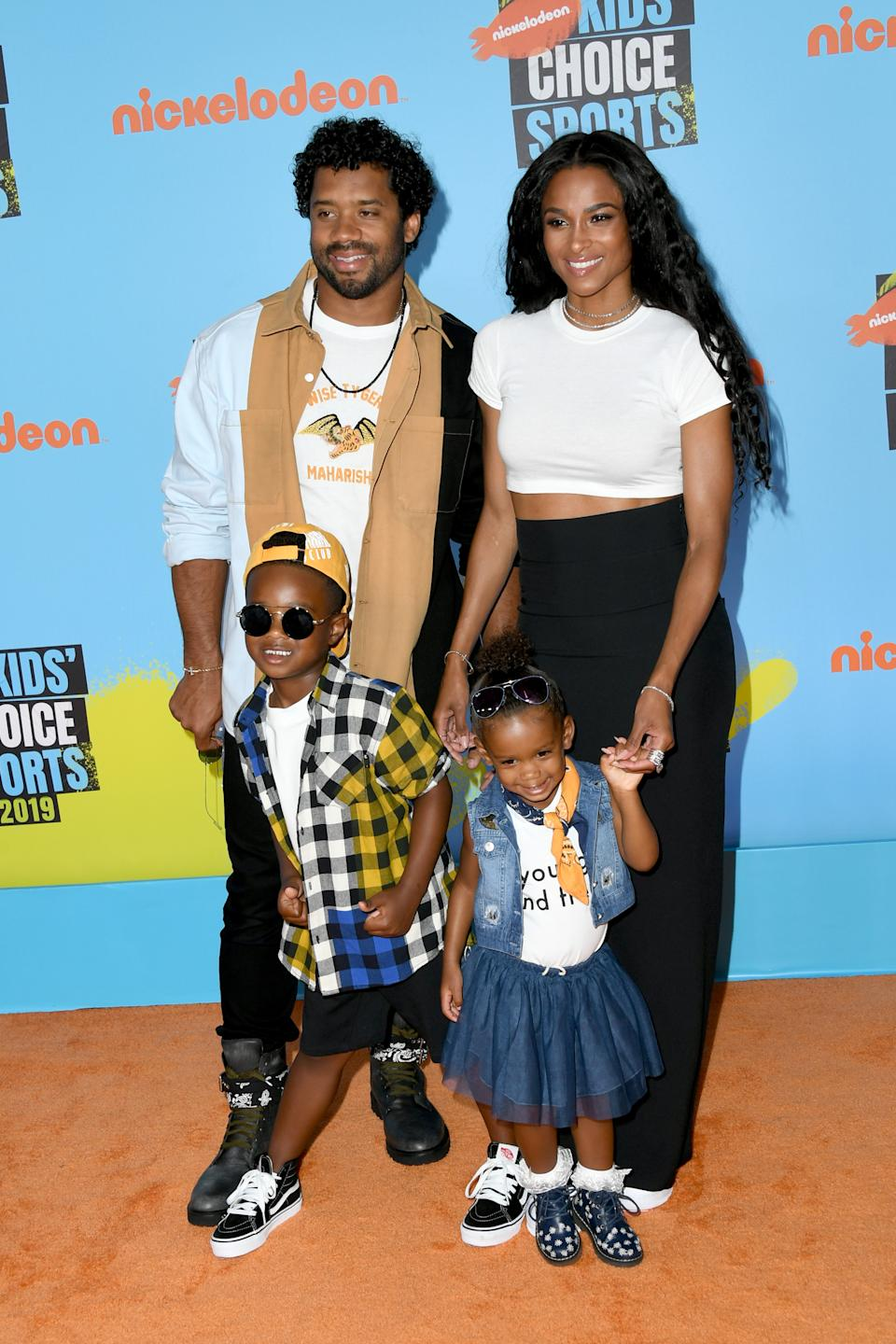 (L-R) Russell Wilson and Ciara with Future and Sienna. (Photo: Jon Kopaloff/Getty Images)