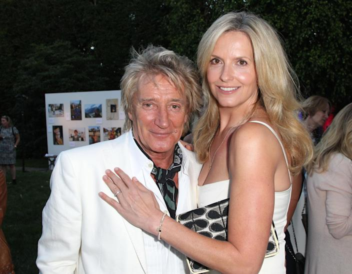 Lancaster, photographed here with husband, Rod Stewart in 2015, started to go through the menopause during lockdown. (Getty Images)