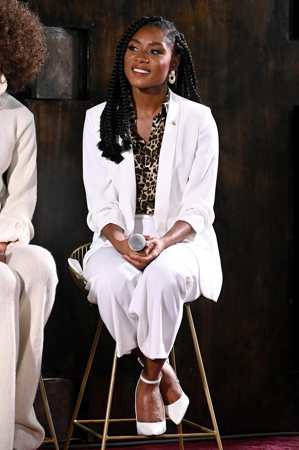 Miss America 2019 Nia Franklin speaks about facing criticism for not wearing her hair natural during her reign at NYFW: The Talks, The Evolving Standard of Beauty. (Photo by Bryan Bedder/Getty Images for IMG)