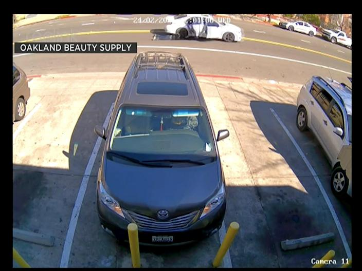 <p>A woman is dragged by a car as her bag is snatched</p> (Oakland Beauty Supply)