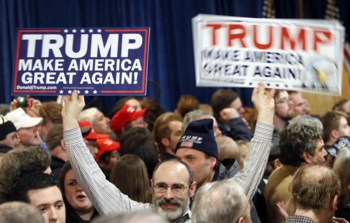 <p>Supporters wait for GOP presidential candidate Donald Trump to speak at a primary-night rally on Feb. 9, 2016, in Manchester, N.H. (Bill Sikes/AP)</p>