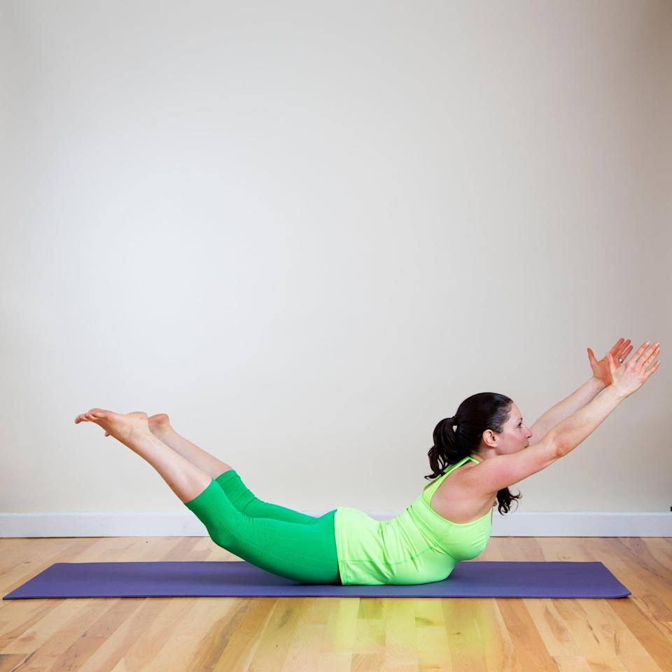 <ul> <li>Lie on your belly and inhale to extend the arms and legs, lifting your feet and hands as high as you can, breathing deeply for five breaths.</li> </ul>