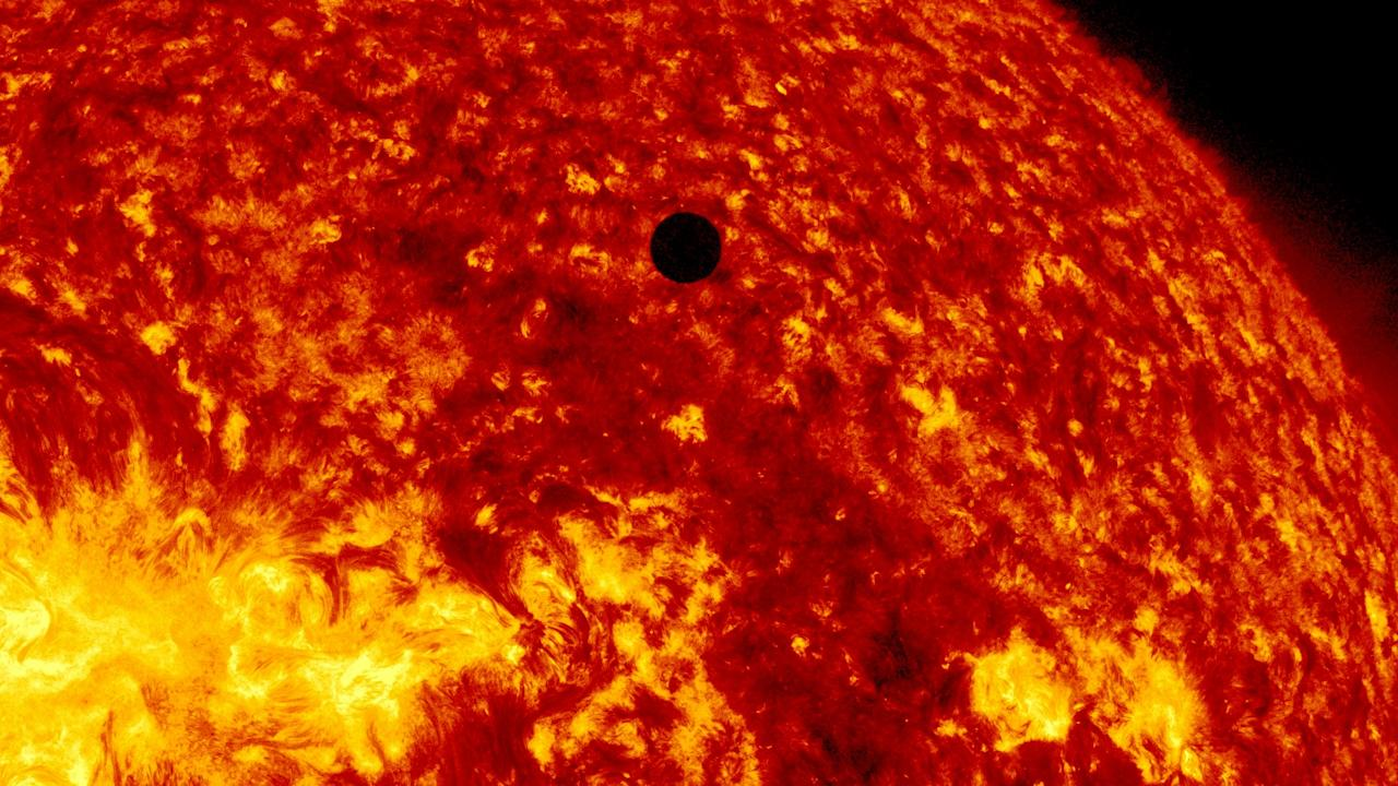 IN SPACE - JUNE 5:  In this handout image provided by NASA, the SDO satellite captures a ultra-high definition image of the Transit of Venus across the face of the sun at on June 5, 2012 from space. The last transit was in 2004 and the next pair of events will not happen again until the year 2117 and 2125. (Photo by SDO/NASA via Getty Images)