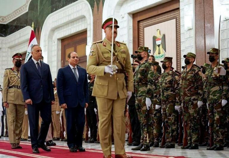 Iraq's Prime Minister Mustafa al-Kadhemi (L), seen here with Egyptian President Abdel Fattah al-Sisi, is trying to position Baghdad as a regional mediator