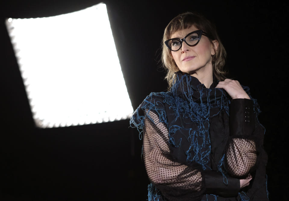 "Bosnian filmmaker Jasmila Zbanic poses during an interview with the Associated Press in the capital Sarajevo, Bosnia, Saturday, Jan. 30, 2021. Zbanic's latest and the most ambitious film ""Quo Vadis, Aida?"", based on true events from Bosnia's brutal 1992-95 inter-ethnic war has been many years in the making. (AP Photo/Kemal Softic)"