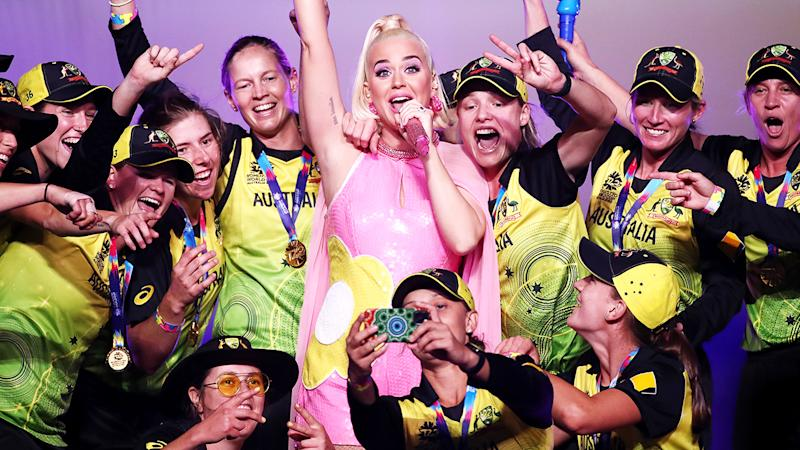 Katy Perry, pictured here performing on stage with the Australian team after the Women's T20 Cricket World Cup Final.