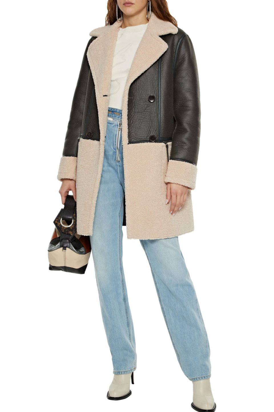 DKNY Double-Breasted Paneled Faux Shearling Coat (Photo via The Outnet)