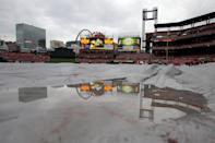 ST LOUIS, MO - OCTOBER 19: A rain tarp covers the infield at Busch Stadium prior to Game One of the MLB World Series between the Texas Rangers and St Louis Cardinals on October 19, 2011 in St Louis, Missouri. (Photo by Doug Pensinger/Getty Images)
