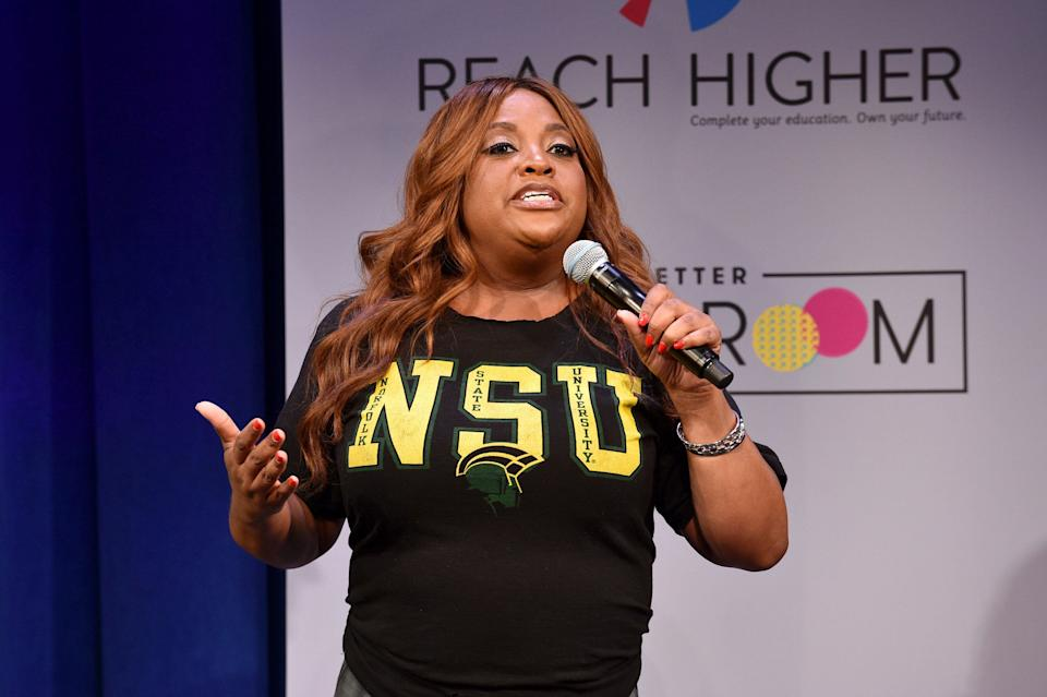 NEW YORK, NY - MAY 05:  TV personality Sherri Shepherd speaks onstage during MTV's 2017 College Signing Day With Michelle Obama at The Public Theater on May 5, 2017 in New York City.  (Photo by Bryan Bedder/Getty Images for MTV)