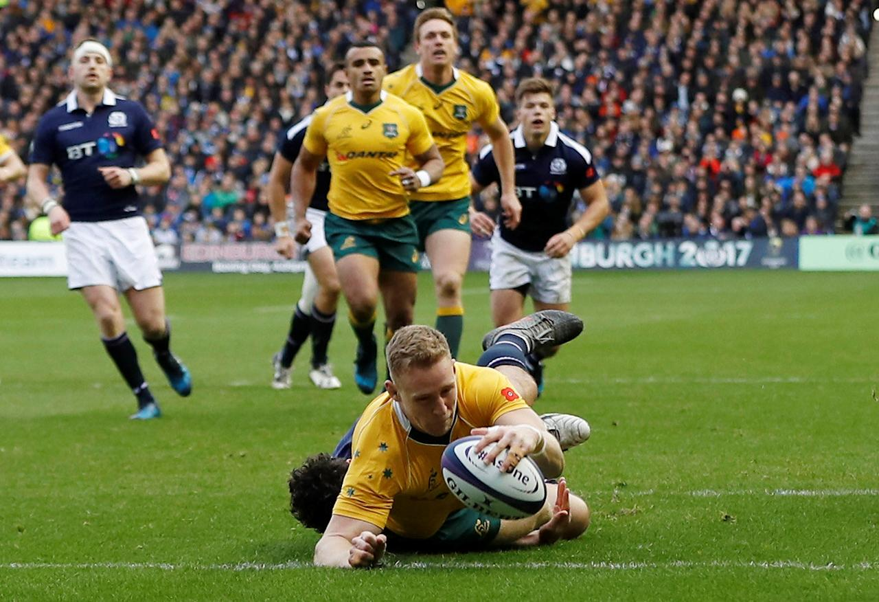 FILE PHOTO - Britain Rugby Union - Scotland v Australia - Murrayfield, Edinburgh, Scotland - 12/11/16 Reece Hodge of Australia scores their first try Action Images via Reuters / Lee Smith Livepic EDITORIAL USE ONLY