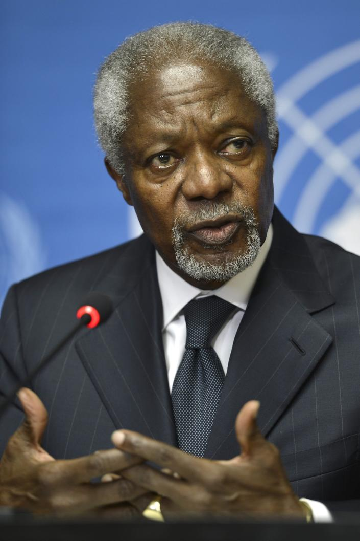 FILE - In this Thursday Aug. 2, 2012 file photo Kofi Annan speaks during a press briefing, at the European headquarters of the United Nations, UN, in Geneva, Switzerland. Annan, one of the world's most celebrated diplomats and a charismatic symbol of the United Nations who rose through its ranks to become the first black African secretary-general, has died. He was 80. (Martial Trezzini, Keystone via AP, File)