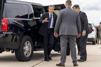 Secretary of State Antony Blinken boards his plane at Andrews Air Force Base, Md., Tuesday, June 22, 2021 to travel to Berlin Brandenburg Airport in Schonefeld, Germany. Blinken begins a week long trip to Europe traveling to Germany, France and Italy. (AP Photo/Andrew Harnik, Pool)